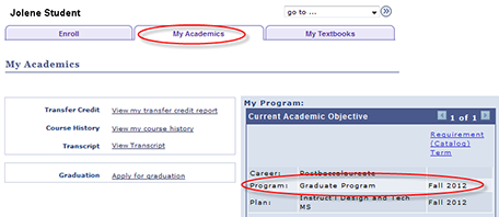 screenshot of academic