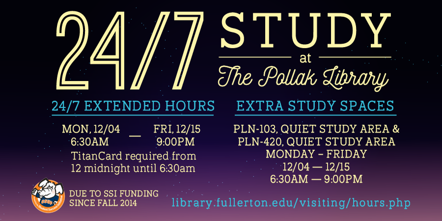 Hours for Fall 2017 24/7 Study