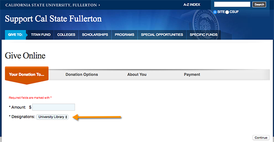 Cal State Fullerton Give Online system screenshot