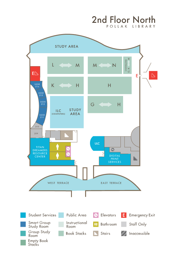 Library North Second Floor map