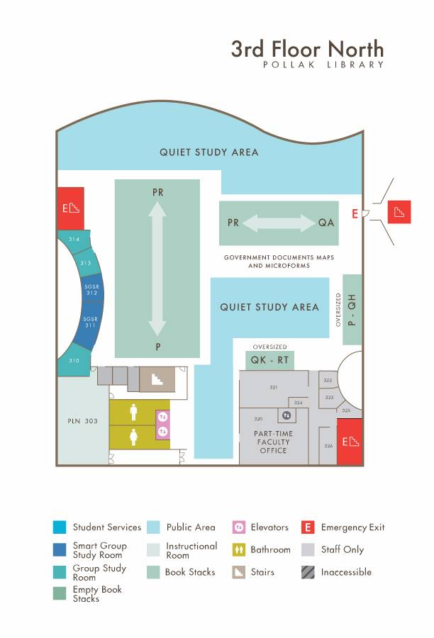 Library North 3rd Floor map