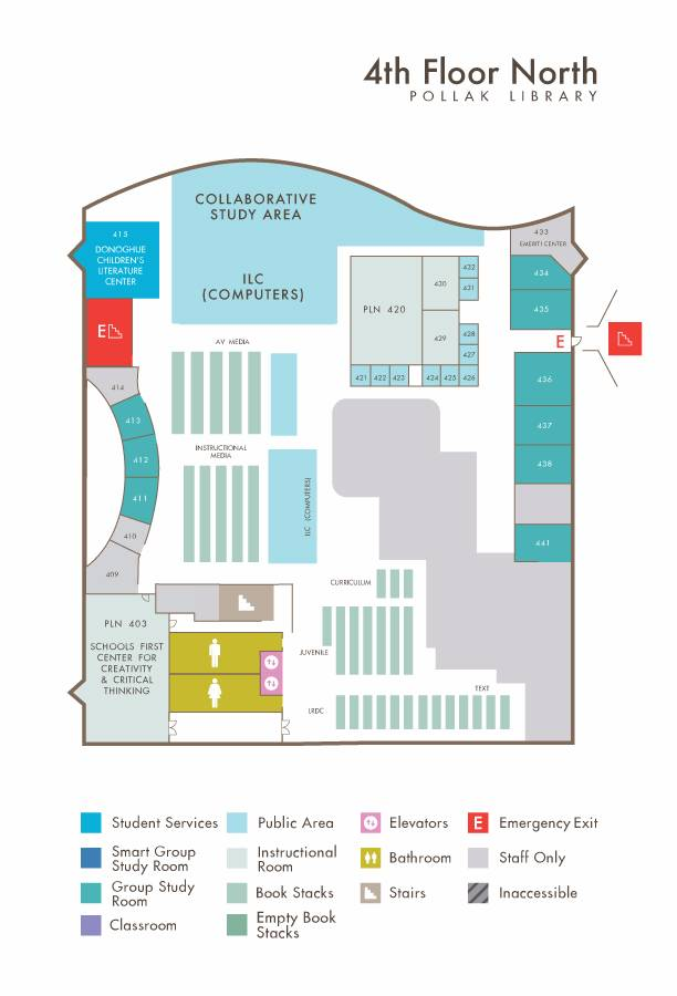 Library North Fourth Floor map