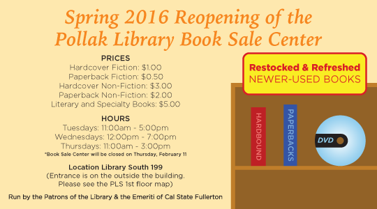 Spring 2016 Reopening of the Patrons Book Sale Center