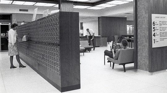 Library card catalog, 1960s
