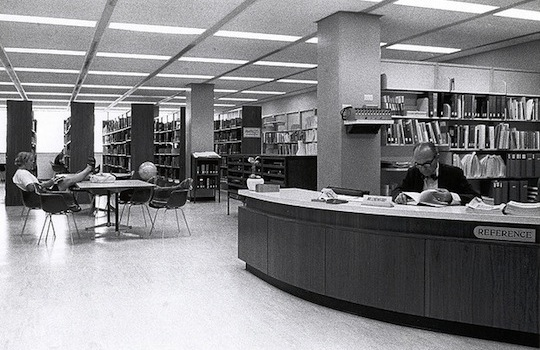 Pollak Library reference desk, 1960s