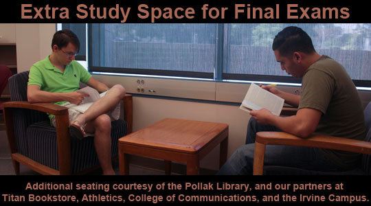 More Study Space for Fall 2014 Finals