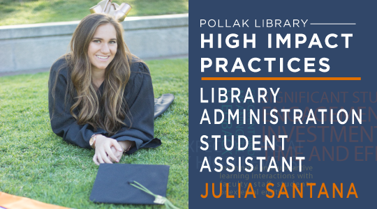 Photo of library student assistant Julia Santana