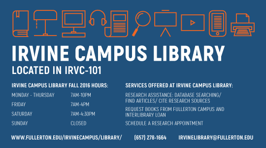 Promo graphic for the Irvine Campus Library