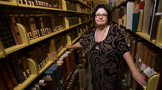 University archivist and special collections librarian Sharon Perry