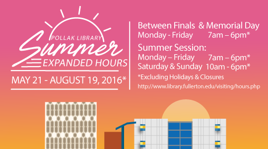 Expanded Hours for Summer 2016