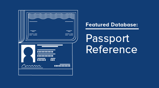 Promotional graphic for the Passport Reference featured database